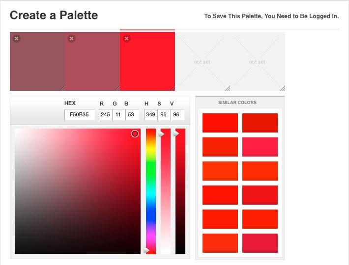 Criando uma paleta de cores no Color Lovers =)