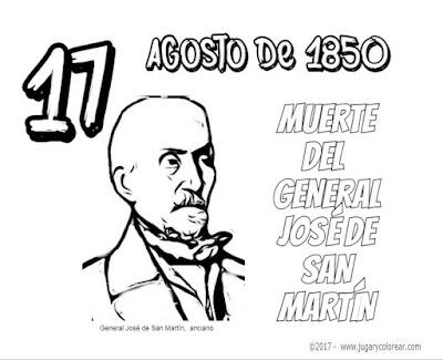 17 de Agosto colorear la muerte del General José deSan Martín