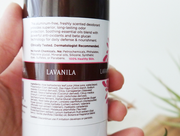 Lavanila Deodorant in Vanilla Grapefruit ingredients