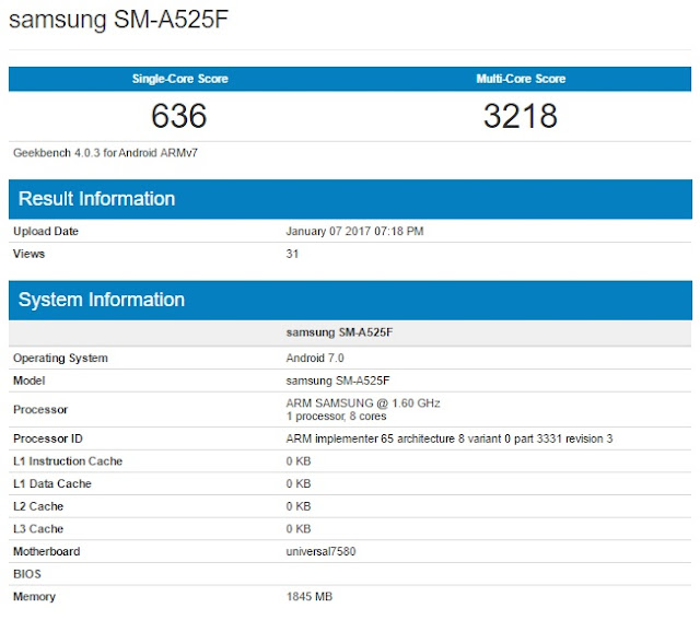 Samsung Galaxy A5 terlihat menjalankan Android v7.0 Nougat, update resmi akan segera hadir