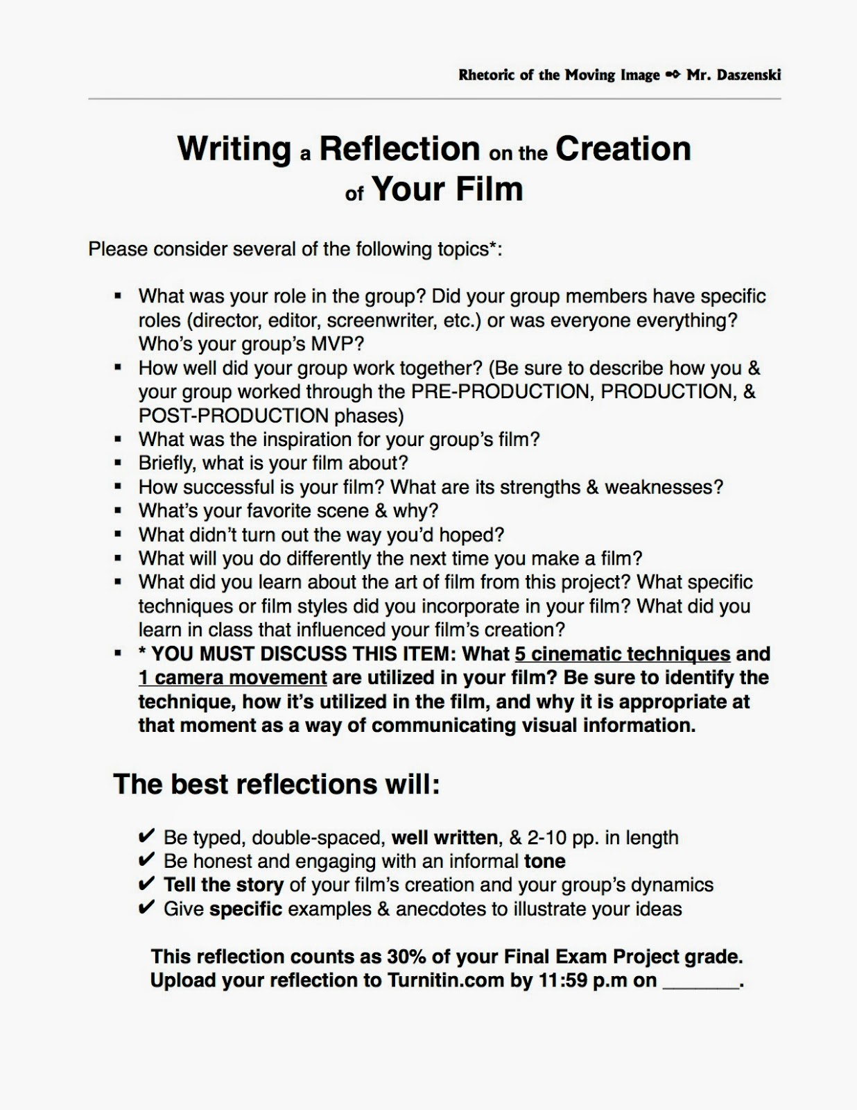 how to write a reflection on a project