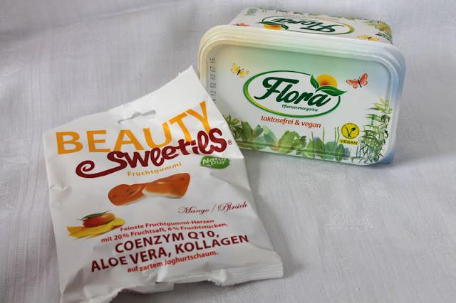 BeautySweeties Fruchtgummi-Herzen 'Mango-Pfirsich' und Flora Pflanzenmargarine