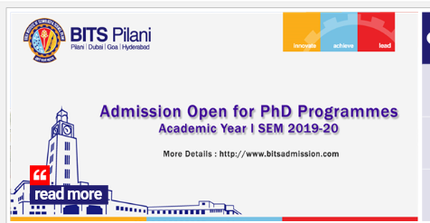 BITS Pilani Ph.D Degree Admission 2019 | Ph.D. Degree in Humanities/Social Sciences, Hyderabad Campus