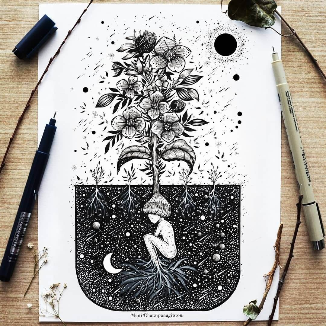 03-I-grow-inside-the-ground-Meni-Chatzipanagiotou-Fantasy-and-Surreal-Ink-Illustrations-www-designstack-co
