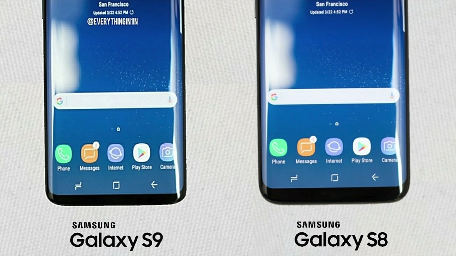 Samsung galaxy s8 and s9 bezels