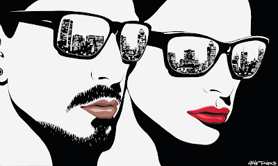 Painting of woman and man wearing sunglasses with the reflection of skyline of Montreal in the lenses. Pop Art style painting in black and white with colored lips.