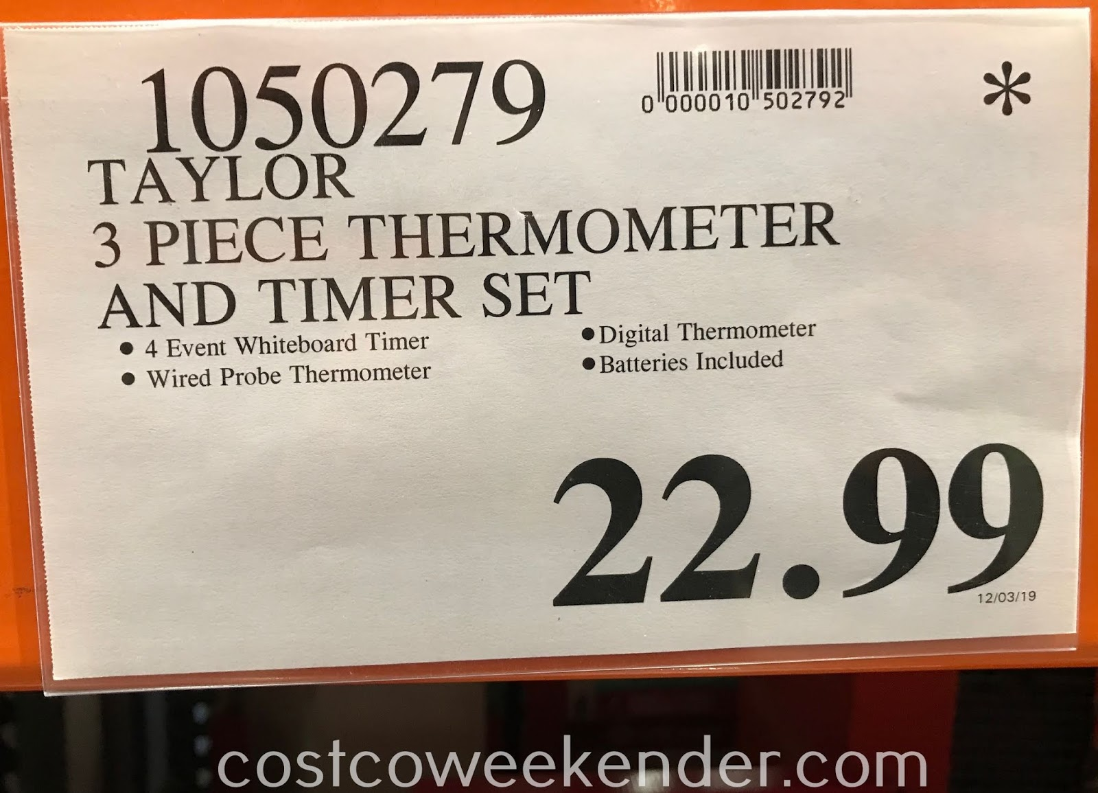 Deal for the Taylor 3-piece Thermometer and Timer Set at Costco
