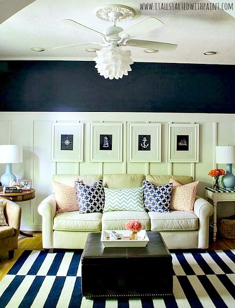 Navy Blue and White Living Room  Ideas Board Batten Striped Rug