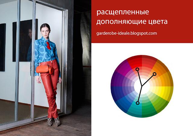 Сочетание расщепленных дополняющих цветов красного, оранжевого и бирюзового в одежде