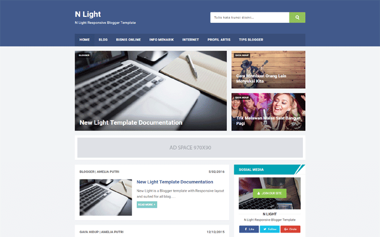 N Light Free Blogger Template
