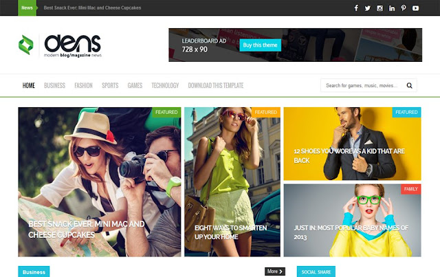 The Dens Responsive Blogger Template