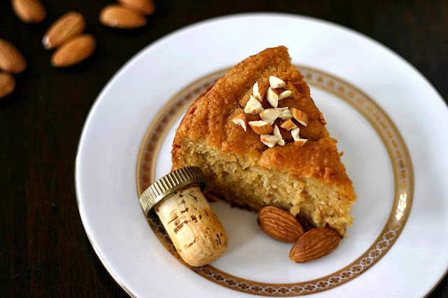 This Healthy Rum-Drenched Almond Pound Cake is so soft, fluffy, and sweet, it doesn't taste guilt free, whole grain, and low sugar one bit!
