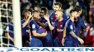 "alt=""Blaugrana won by a thin score of 2-1"""