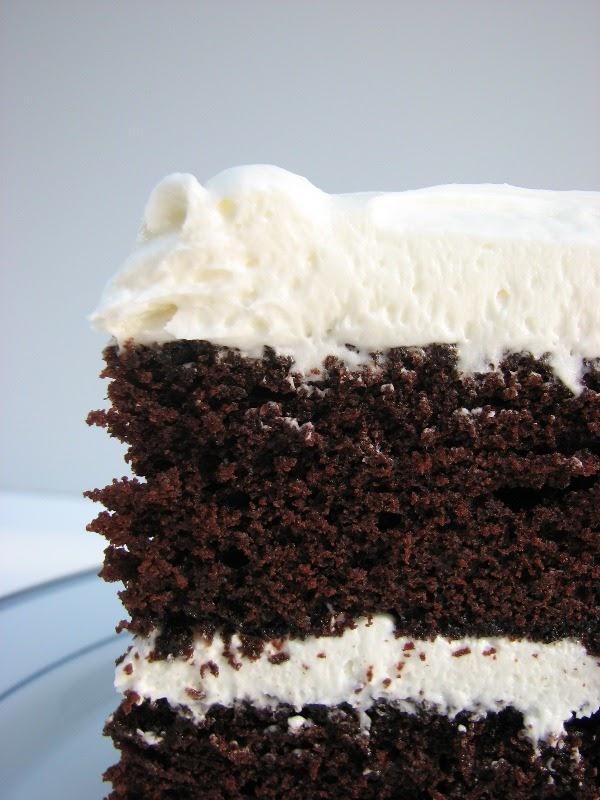 Heidi Bakes Dark Chocolate Layer Cake With White Icing