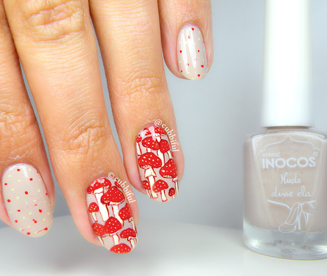 Red Mushrooms Nail Art