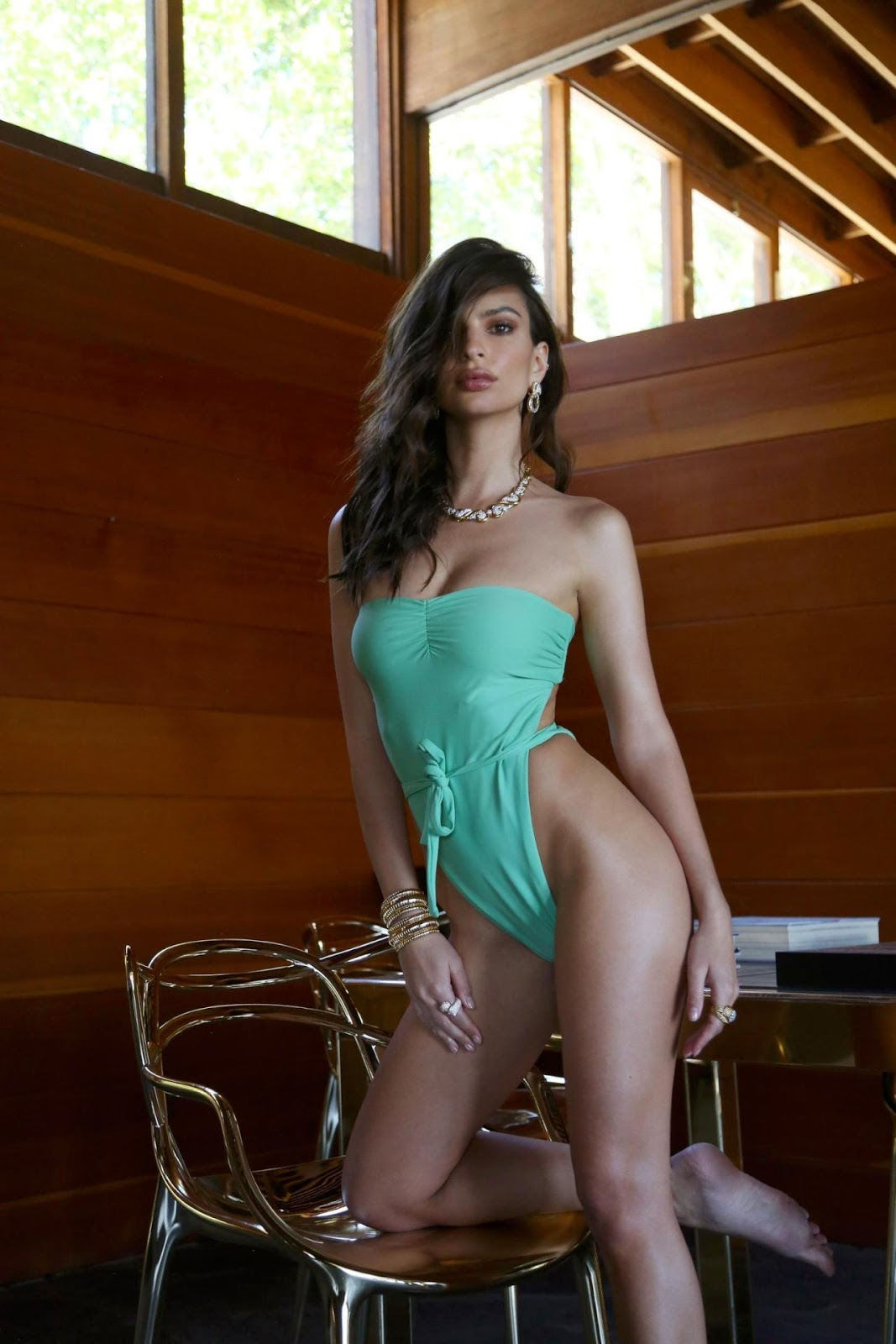 Emily Ratajkowski showcased her latest swimwear designs in an effective style