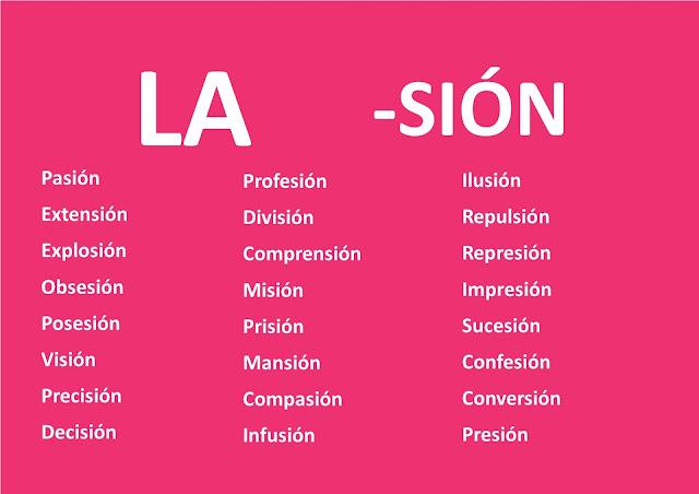 Resultado de imagen para palabras terminadas en cion y sion