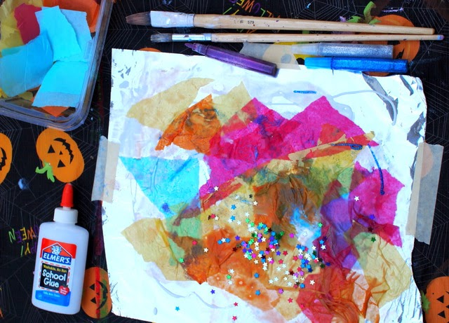 how to set up shiny foil process art for young kids