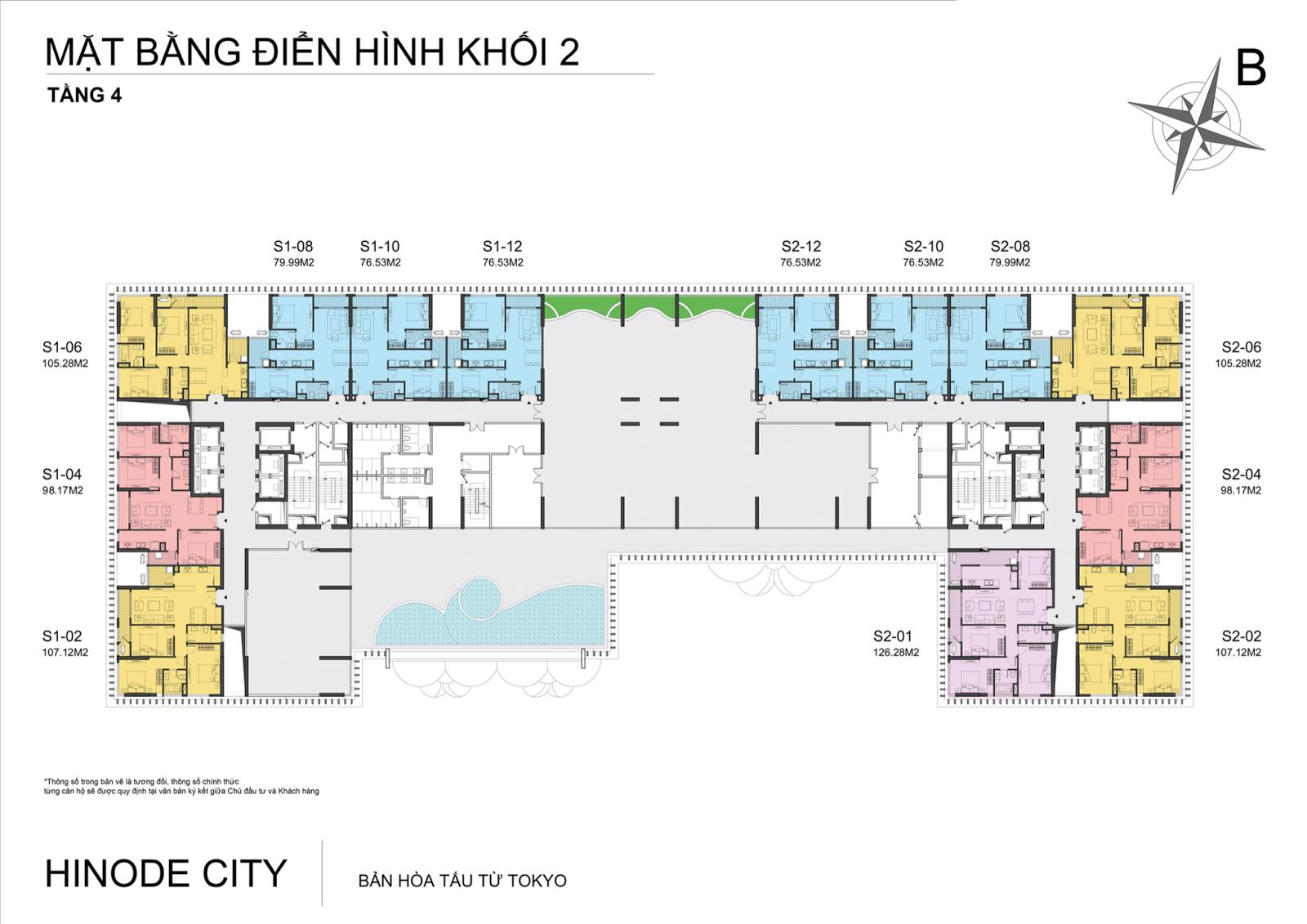 Mặt bằng điển hình tầng 4 dự án Hinode City