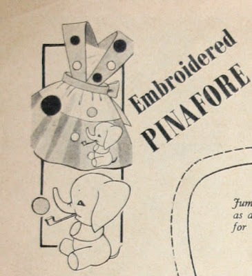 The Vintage Pattern Files: Free 1950's Sewing Pattern - Girls Elephant Embroidered Pinafore Dress