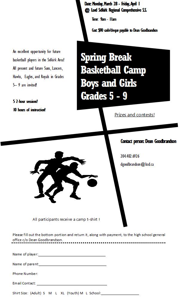 Spring Break Basketball Camp Set for Selkirk for Grades 5