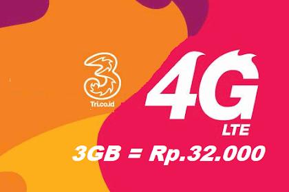 Paket Internet Murah Tri 3GB 30 Hari Cuma Rp.32.000!