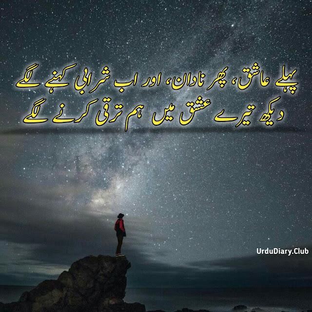 Aloneness Under Sky | Urdu Tanhai Poetry Pehly Ashiq, phir nadan, aur ab sharabi kehne lage  Dekh tere ishq mai hum tarqi kerne lage