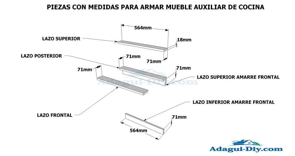 Diagrama e im genes planos con medidas de mueble auxiliar for Planos para muebles de cocina en melamina