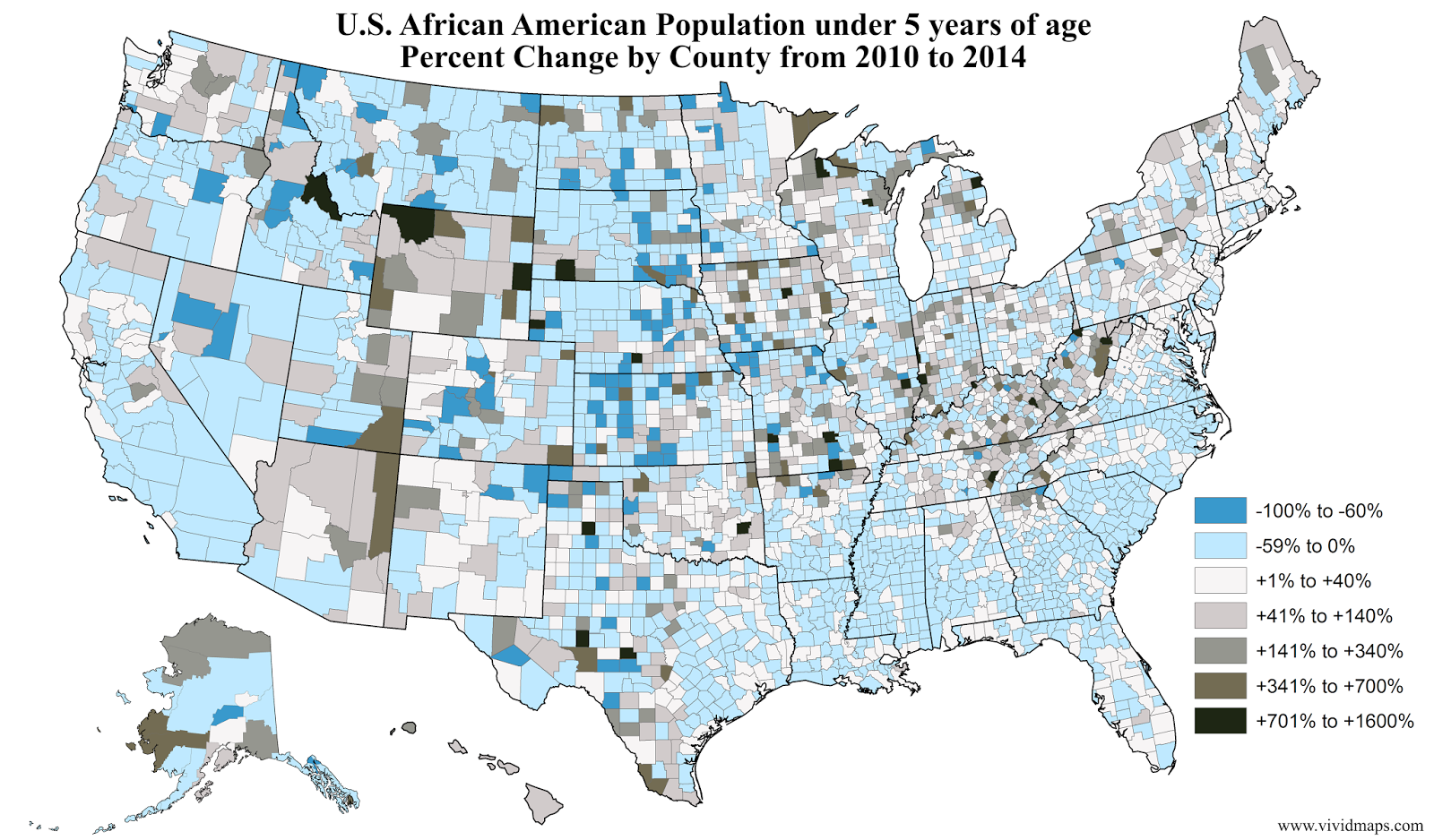 U.S. African American Population under 5 years of age Percent Change by County (2010 - 2014)