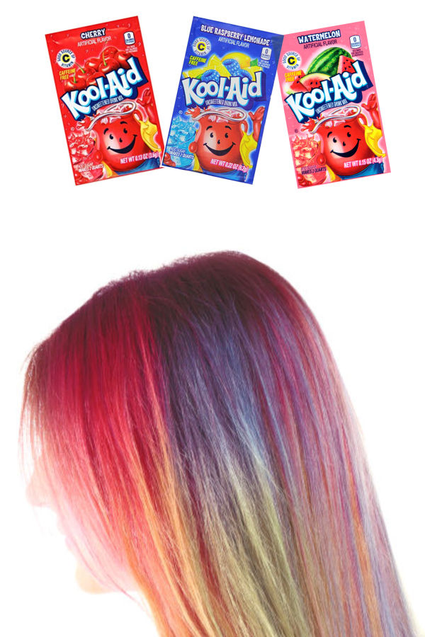 Kool-aid hair dye is easy to make and tons of fun!  Follow this simple recipe for the easiest way to dye your kids hair at home #koolaidhairdye #koolaid #koolaidhairdyeforkids #hairdyeideas #homemadehairdye #hairdye