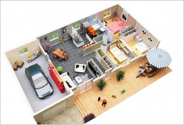 denah rumah 3 kamar dan garasi