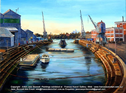 oil painting of Turbine Hall cranes and Fitzroy Dock Cockatoo Island  by artist Jane Bennett
