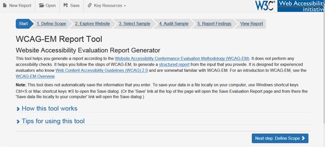 Página de inicio de la herramienta online WCAG-EM Report Tool. Se describe a continuación