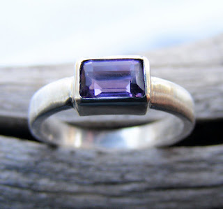 purple amethyst emerald cut gemstone ring
