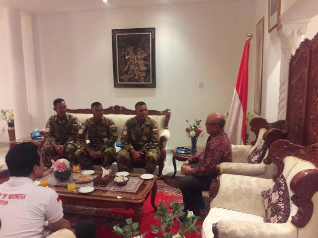 Dansatgas Yonkomposit Konga XXXV-C Kunjungi Dubes RI untuk Sudan