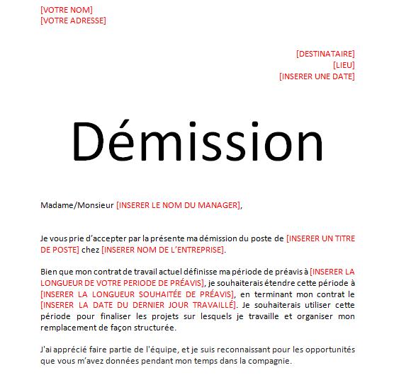 Modèle lettre de démission avec préavis en word doc | Cours génie