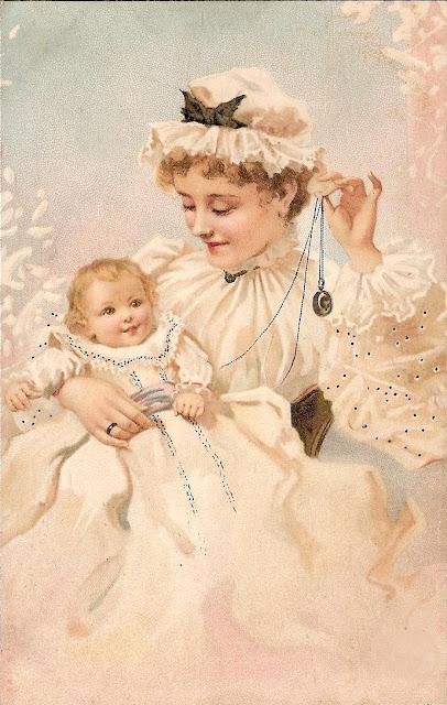 Belle image ancienne maman et bébé