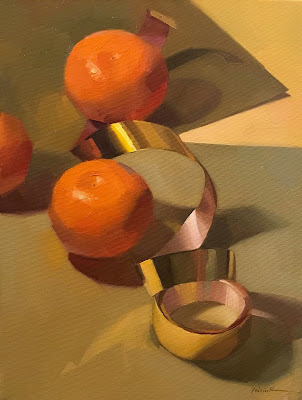 gold ribbon painting oranges still life art