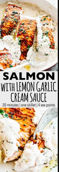 Pan Seared Salmon with Lemon Garlic Cream Sauce