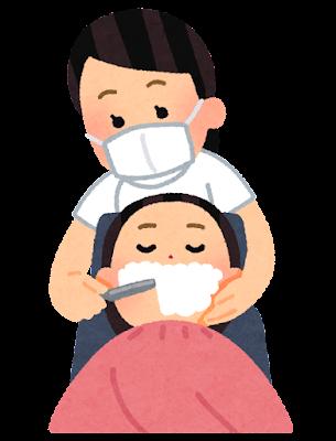 顔そりをする理容師のイラスト
