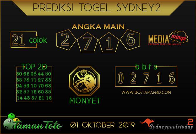 Prediksi Togel SYDNEY 2 TAMAN TOTO 01 OKTOBER 2019