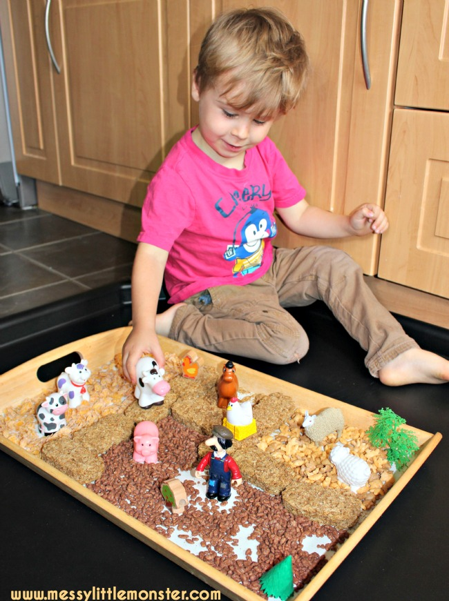 Edible/ taste safe farm animal play activity for babies, toddlers and preschoolers. EYFS.