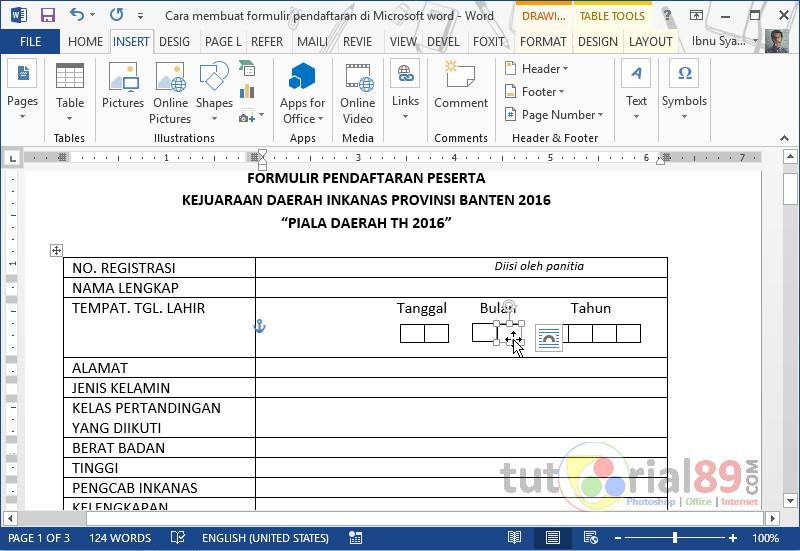 Cara Mudah Membuat Formulir Pendaftaran Di Ms Word Tutorial89