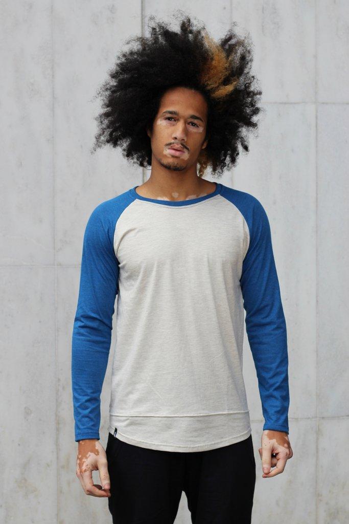 Camisa Raglan Azul Masculina