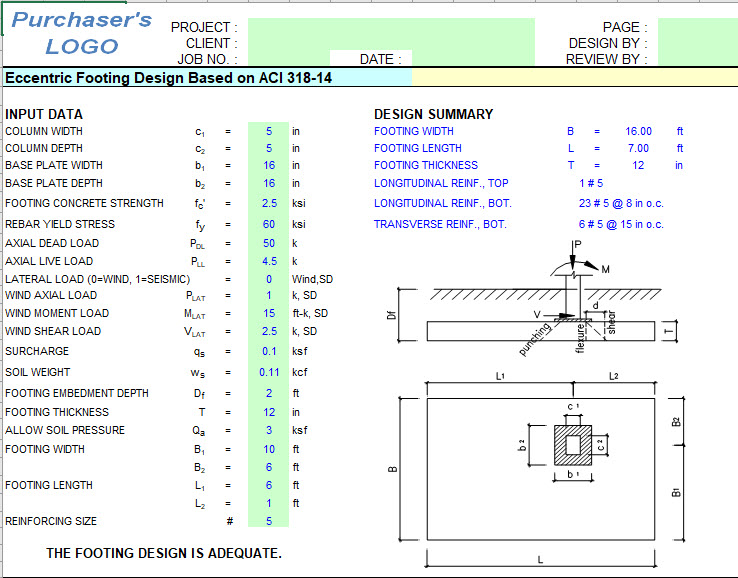 Eccentric Footing Design Spreadsheet Based on ACI 31814 – Spread Footing Design Spreadsheet