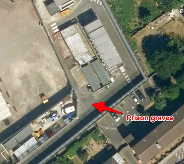 Wandsworth Prison - Google Earth Red arrow points to location of prison graveyard.