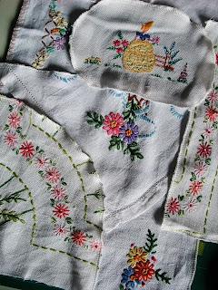 vintage linen patchwork by karen vallerius