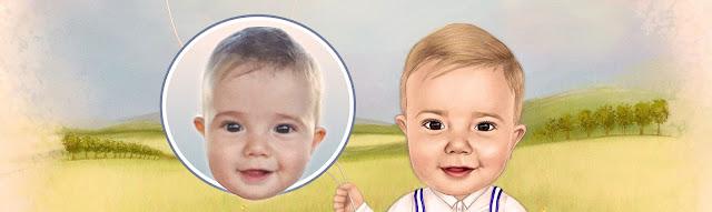 caricatura de menino com foto para comparação