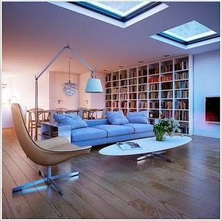 diseño sala sofá celeste