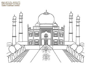 Gambar Sketsa Mewarnai Masjid Terbaru 201705